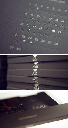 Calendier letterpress 2014 impression pantone argent