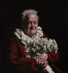 Old Man With Daisies, Teresa Oaxaca, 20x30 oil on canvas