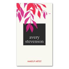 Colorful Bold Pink and Red Leaves Modern Beauty Double-Sided Standard Business Cards (Pack Of 100). Make your own business card with this great design. All you need is to add your info to this template. Click the image to try it out!