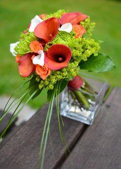 orange calla bouquet