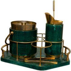 Rare Cocktail Set in Goatskin & 22 Karat Gold by Aldo Tura