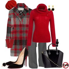 Red, Grey & Black Plaid Comfort, created by judieasley on Polyvore