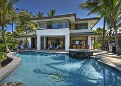 Enjoy the pool at this beautiful oceanfront estate in Hawaii!