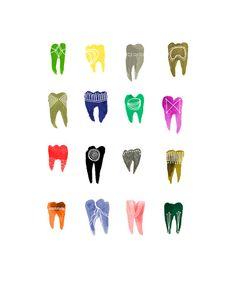 Colorful Symbolic Teeth 8x10 print por KatieVernon en Etsy