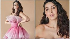 Nora Fatehi looks like a dream in pink and white tulle dress Maternity Dresses, Maternity Fashion, Prom Dresses, Formal Dresses, Tube Gown, White Tulle Dress, Pink Satin, Spaghetti Strap Dresses, Bollywood Fashion