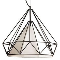 1LT Blk Metal Framed Pendant w/IVY Sh : 245-181P-IVY   Concept Lighting Group