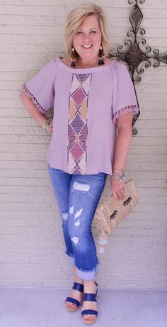 50 IS NOT OLD   LOOKING STYISH ON A BUDGET   FASHION OVER 40   Dusty Lilac   Tassels   Pompoms   Frayed Hem Jeans   Fashion over 40 for the everyday woman