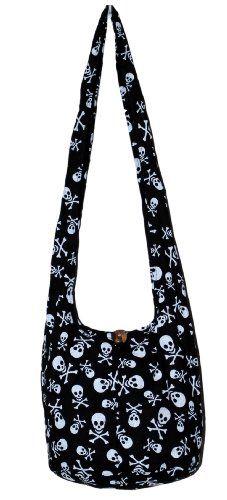 All Best Thing Skull Black Cotton Printed Crossbody 34″ Length