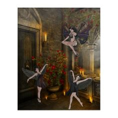 Shop Dark Fairies - the Three Sisters Acrylic Print created by WhimsicalArtwork. Personalize it with photos & text or purchase as is! Dark Fairies, Fantasy Fairies, Fantasy Art, Acrylic Wall Art, Wood Wall Art, Wall Art Decor, Fantasy Gifts, Three Sisters, Faeries