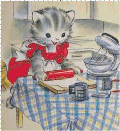 Kitty in the Kitchen Retro Golden Books PDF Cross-Stitch Pattern