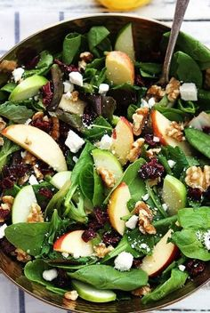 Eat Stop Eat To Loss Weight - Salade pommes et noix Plus - In Just One Day This Simple Strategy Frees You From Complicated Diet Rules - And Eliminates Rebound Weight Gain Stop Eating, Clean Eating, Healthy Eating, Healthy Salads For Dinner, Eating Raw, Healthy Thanksgiving Recipes, Healthy Recipes, Thanksgiving Salad, Apple Recipes