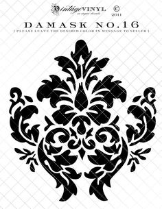 Listing is for one 6 inch high Damask vinyl decal or one time use stencil {starting at Widths will vary depending on the design. Large Wall Stencil, Stencil Decor, Damask Stencil, Stencil Patterns, Stencil Painting, Stencil Designs, Embroidery Patterns, Stenciling, Bird Stencil