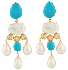 Turquoise, Citrine, and White Pearl Earrings by Bounkit | Charm & Chain