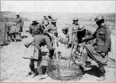 Gordon Highlanders prepaping the barbed wire