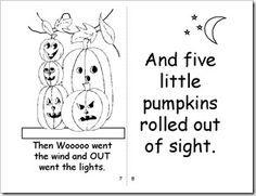 Five Little Pumpkins Book Printable Halloween Preschool