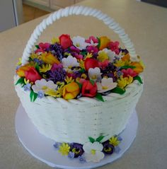 May Day basket cake with handmade sugar flowers