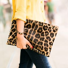 leopard   sunshine yellow Leopard Clutch, Studded Clutch, Wendy s Lookbook,  Ankle Jeans, cad3bb8c772