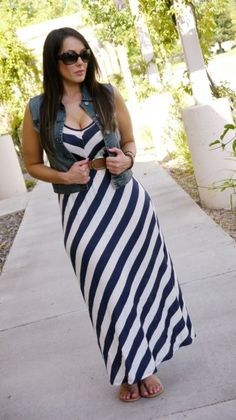 striped maxi + denim vest + flat sandal // @dressmeSue
