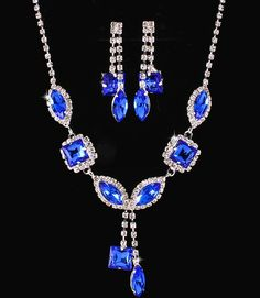 Royal Cobalt Blue Crystal Rhinestone Formal Wedding Bridal Prom Party Pageant Bridesmaid Evening Mixed Marquise Square Stones Necklace Earrings Set Elegant Costume Jewelry