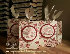 STAMPIN' UP! Very Vanilla card stock stamped with Cherry Cobbler ink using Reason for the Season stamp set.