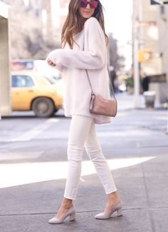 White oversized sweater jeans shoes. Street spring women fashion outfit clothing style apparel @roressclothes closet ideas