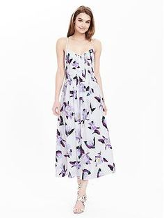 Pleated Strappy Floral Dress
