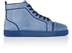CHRISTIAN LOUBOUTIN Lou Spikes Orlato Flat Suede Sneakers. #christianlouboutin #shoes #sneakers