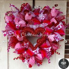Schön Deco Mesh Wreath Valentine Wreath Heart By MrsChristmasWorkshop