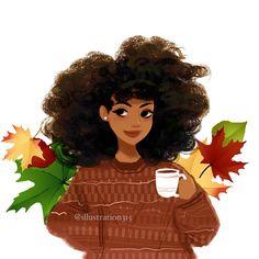 """Waiting for autumn/fall like. Black Love Art, Black Girl Art, Art Girl, Fall Drawings, Cute Drawings, Drawings Of Black Girls, Black Girl Cartoon, Cartoon Girls, Natural Hair Art"