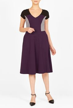 I <3 this Banded empire colorblock knit dress from eShakti