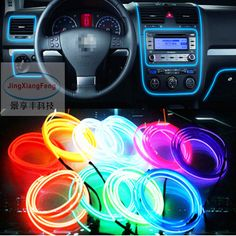 JingXiangFeng Car Styling Car Interior Light EL Wire Tron Glow Wire Easy Sew Tag Flexible Led Neon Strip 12V Car Inverter Driver