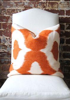 Decorator Fabric - Ikat print in Orange - Dalesford by Duralee - 20x20 via Etsy
