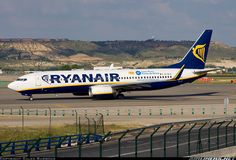 Ryanair Boeing (EI-DLH)Madrid - Barajas (MAD) - This was to promote Ryanair's new base at Girona. At Madrid, Cargo Airlines, Airports, Airplanes, Aviation, Aircraft, Commercial, British, Base