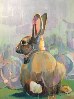 """Daily Paintworks - Original Fine Art © Kimberly Santini - Daily Paintworks – Original Fine Art © Kimberly Santini """"Peter took advantage of Mr McGregor's distraction over world events to raid the cabbages."""" original fine art by Kimberly Santini Bunny Painting, Painting & Drawing, Lapin Art, Rabbit Art, Bunny Art, Animal Paintings, Art Paintings, Painting Inspiration, Art Drawings"""