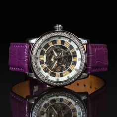 MA 145L/PU CONSTELLATION Skeleton Face, Purple Leather, Mechanical Watch, Watch Brands, Constellations, Best Sellers, Female Models, Watches For Men, My Favorite Things