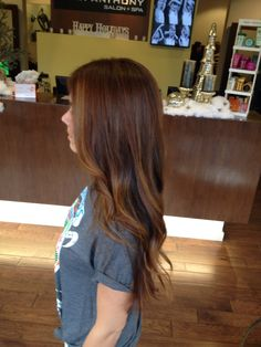 Chestnut medium brown with Balayage highlights by Natalie Rock