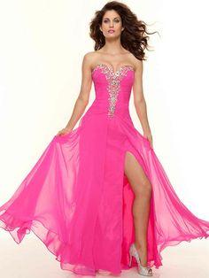A-line Sweetheart Chiffon Floor-length Sleeveless Rhinestone Prom Dresses at Msdressy
