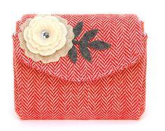 Red White Herringbone Tweed Wallet with Cream Felt by TheBowMakers, $15.00