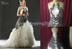 Wholesale Wedding Dress - Buy Online Wedding Dress White And Black Applique, $199.99   DHgate