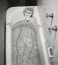 Girl in Bathtub, 1949.  Saul Steinberg