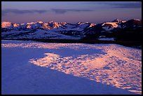 Neve near Rock Cut and Never Summer range in early summer at sunset. Rocky Mountain National Park ( color)