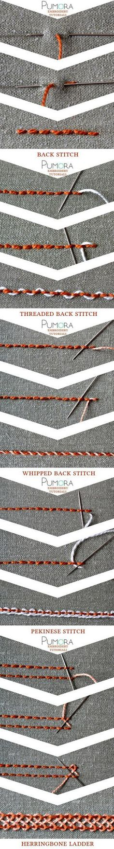 embroidery tutorials: backstitch with variations bordado, ricamo, broderie, sticken Más Más