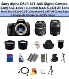 Sony Alpha DSLR-SLT-A55 Digital Camera W/18-55mm & 55-200mm Lens + Complete SLR Accessory Package by Sony. $1231.95. This Kit Includes: 1- Sony Alpha DSLR-SLT-A55 Digital Camera (Includes manufacturer's supplied accessories)  1- Sony SAL-1855 18-55mm f/3.5-5.6 DT AF Lens  1- Sony SAL-55200-2 55-200mm f/4-5.6 DT AF Zoom Lens 1- Wide Angle Macro Lens w/Pouch and Caps  1- 2x Telephoto Zoom Lens w/Pouch and Caps  1- 3 Piece Filter Kit Includes: UV, Circular Polarizer and Flourescent...