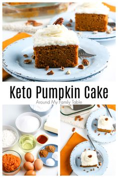 {NEW} Keto Pumpkin Cake just in time for pumpkin season! 🎃🎃 It's such a simple, delicious cake to get that fall pumpkin fix. It's topped with a scrumptious cream cheese frosting which makes it a perfect dessert. Cheese Pumpkin, Canned Pumpkin, Pumpkin Pie Spice, Pumpkin Puree, Cake With Cream Cheese, Cream Cheese Frosting, Unflavored Whey Protein, Dairy Free Recipes, Easy Recipes