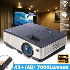 Android Wifi Mini LED Home Theater Projector Bluetooth Movie HDMI USB VGA 1080P