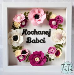 Personalized felt floral frame box with custom text. This is a unique gift for everybody . Frame contains handmade felt elements (flowers & text) and paper background. You can choose the colours of the flowers and text ( for example: name/ monogram initials and a wedding date/ Custom quote/