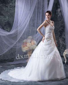 A-line Wedding Dresses Sweetheart Court Train Organza Satin Ivory 01001010058
