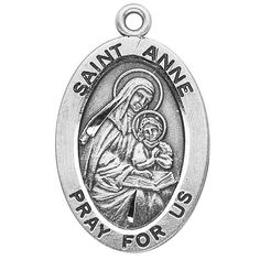 "Sterling Silver Oval Medal Necklace Patron Saint St. Anne with 18"" Chain in Gift Box HMHRegina,http://www.amazon.com/dp/B003QHT0FA/ref=cm_sw_r_pi_dp_ExRIsb11N4B70DEV"