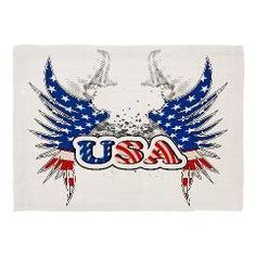 USA with wings, now on Cafepress Set the table with fun when you bring home custom placemats featuring lovable moments or fabulous designs. These placemats make dinnertime extra-special. Wings, Bring It On, In This Moment, Usa, Artwork, Table, How To Make, Design, Work Of Art
