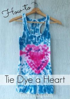 Learn how to Tie Dye a Heart shape. This is a fun and easy tie dye shibori dyeing technique that also works with other shapes. A fun craft project for teens. Makes a great home gift for Valentine's gift! A FiberArtsy.com craft tutorial